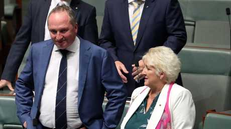 Barnaby Joyce with Michelle Landry at  Parliament on Thursday. Picture Gary Ramage