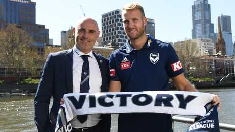 Kevin Muscat (left) with star signing Ola Toivonen. Picture: AAP