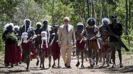 Prince Charles receives a Welcome to Country Ceremony (Rirratjingu Bunggu) at Mt Nhulun on April 9, 2018 in Gove, Northern Territory, Australia. Picture: Brook Mitchell/Getty Images.