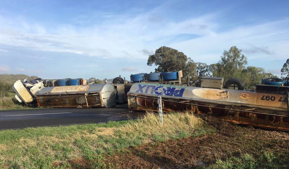 The Oakey Pittsworth Rd at Mt Tyson is closed after a molasses tanker rolled early this morning.