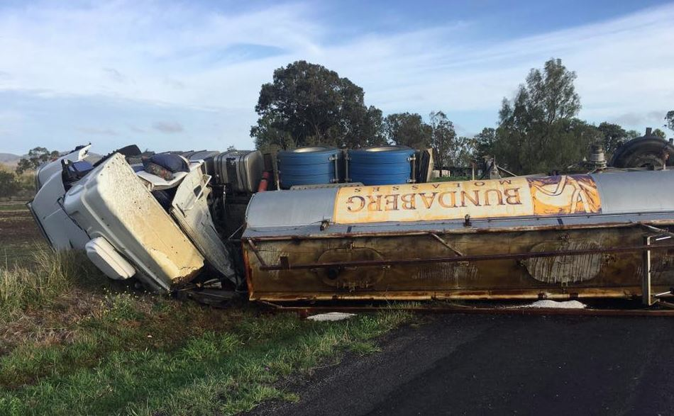 The molasses truck rolled on Oakey Pittsworth Rd at Mt Tyson.