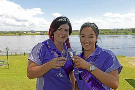 Jacaranda Queen Alana Gordon and Jacaranda Princess Emilee Wall take a break from their hectic Jacaranda schedule to prepare for the River Feast Festival on Saturday after the Float Procession.