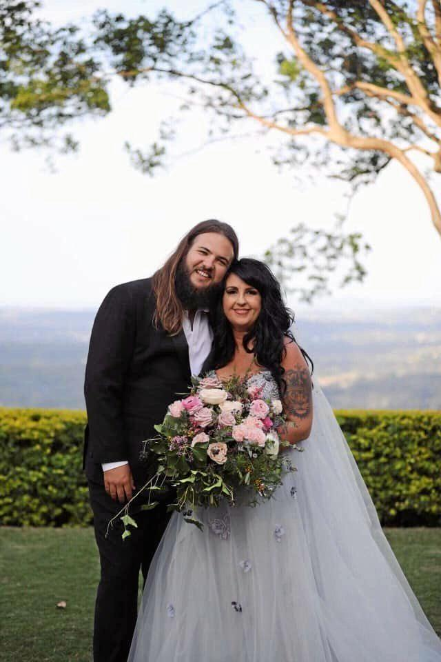 HAPPILY MARRIED: Linc and his wife Stacey Phelps on their wedding day.