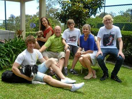 The Beall family on the tennis court a few years ago before the nest was empty.
