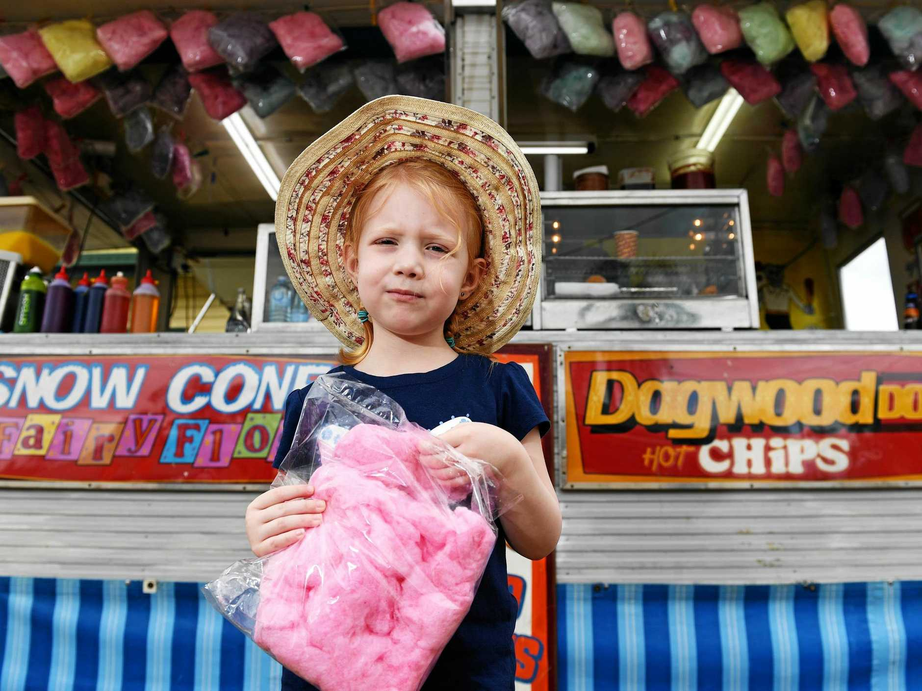 FAN FAVOURITE: Zoe Hargrave, 4, of Alstonville at the show with fairy floss after checking out the showbags at the North Coast National held at the Lismore Showgrounds.