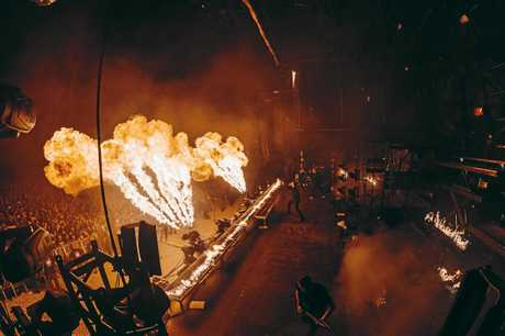 The huge fire display the accompanies the set on the latest tour. Photo Lucas Englund (High 5ive)