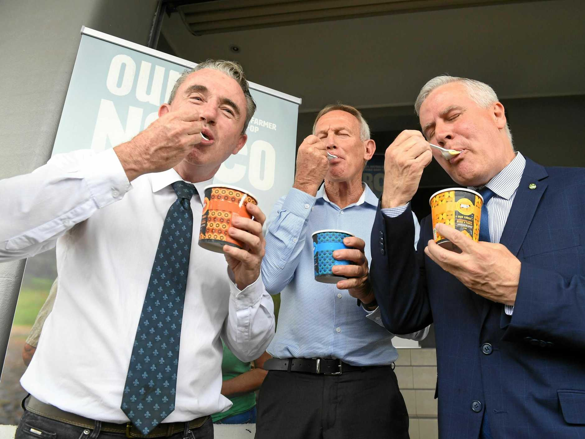 THAT'S GOOD: Federal Member for Page Kevin Hogan is joined by the Deputy Prime Minister Michael McCormack and Acting CEO of Norco Greg McNamara to announce an expansion worth $10s of millions for the Norco Ice-cream Facility in Lismore.