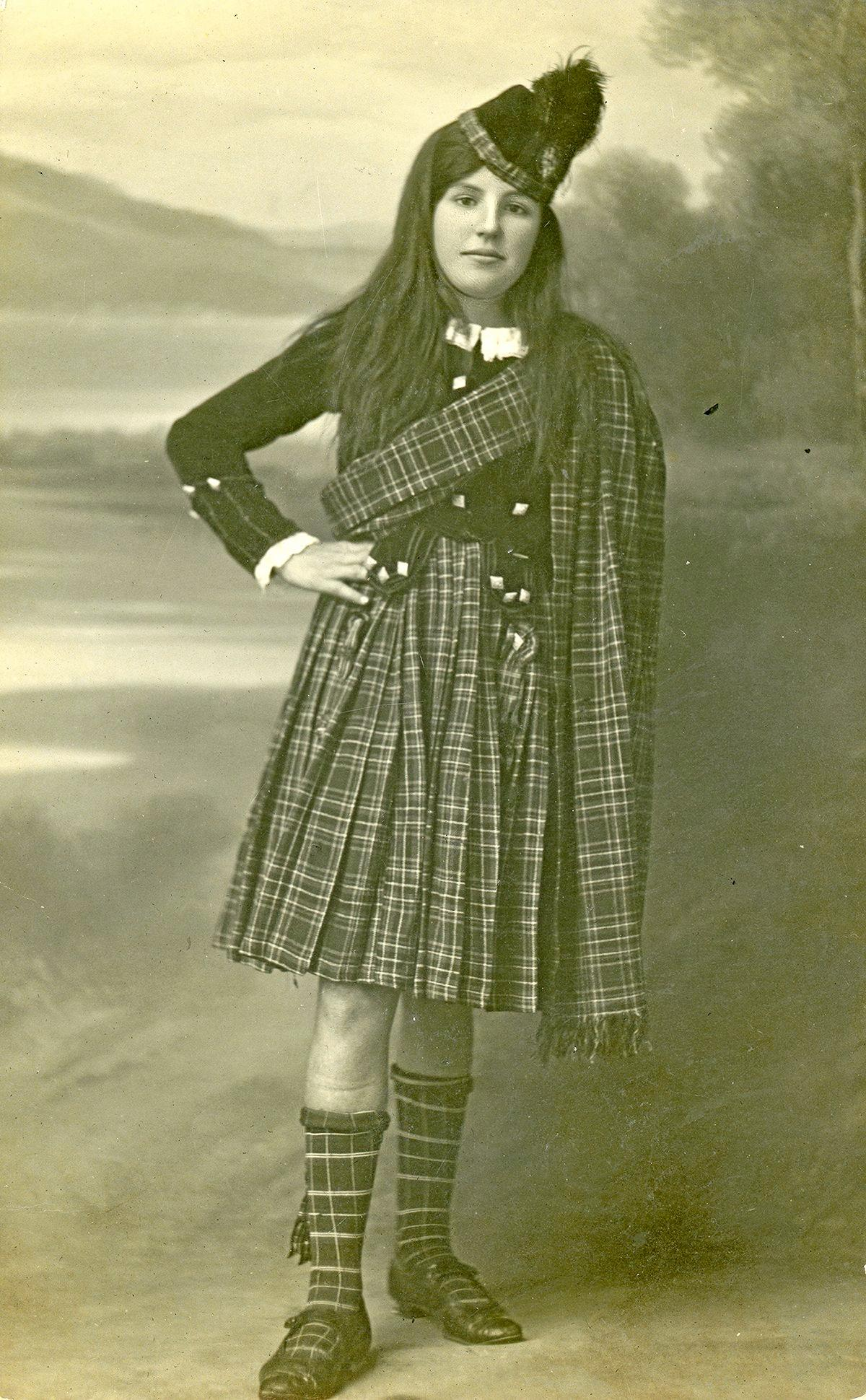 Ella in her winning Scottish costume at a Cudgera Fancy Dress Juvenile Ball in August 1920, aged 11. Photograph by Angus McNeil