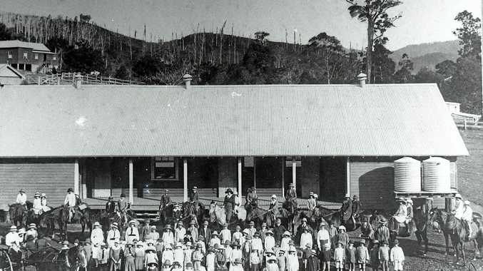 SCHOOL PHOTO: Uki Public School, 1917. Ella and her friend Ivy are on the horse at the back, second from left.