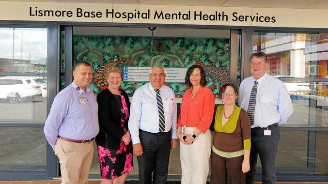 Lismore is to receive $1.2 million for Mental Health infrastructure upgrades. Lismore MP Thomas George, second from left, and Northern NSW LHD staff from left, Christoph Groger, Alison Renwick, Dee Robinson, Heidi Keevers, and Warren Shaw.