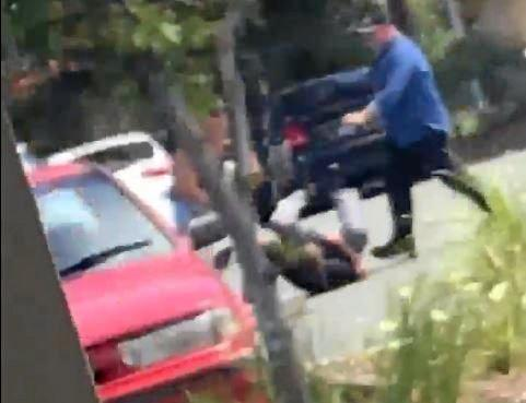 Footage has emerged of the moment a carpark fight turned ugly, where a man was allegedly shot.