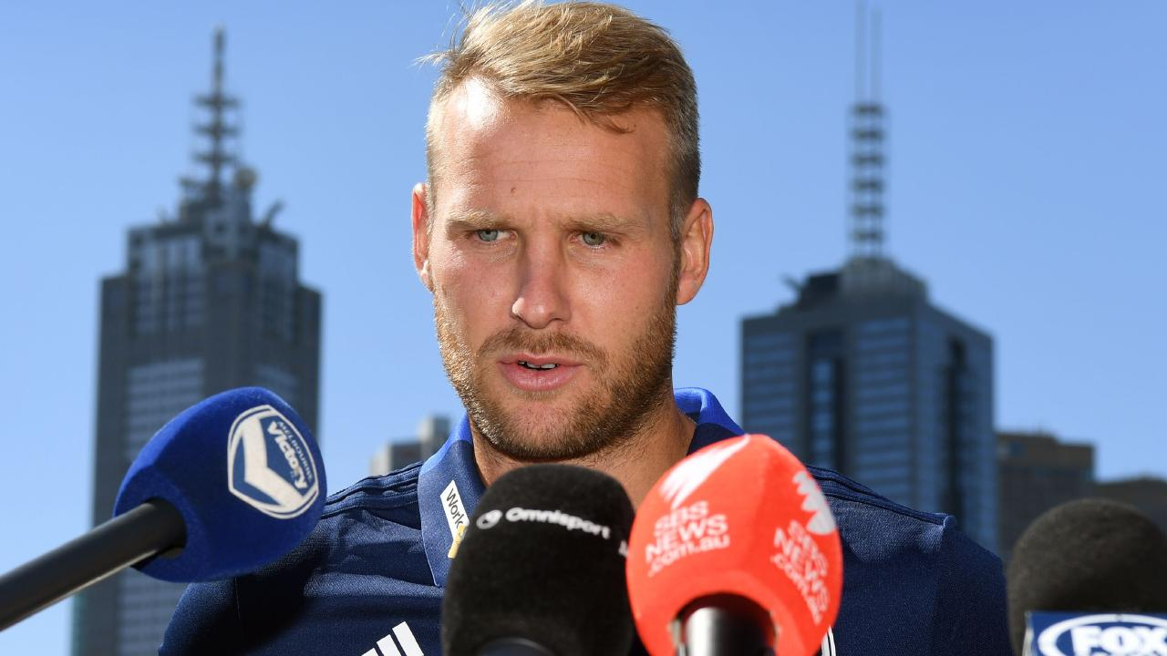 Melbourne Victory recruit Ola Toivonen is in doubt for Saturday night's derby. Picture: AFP