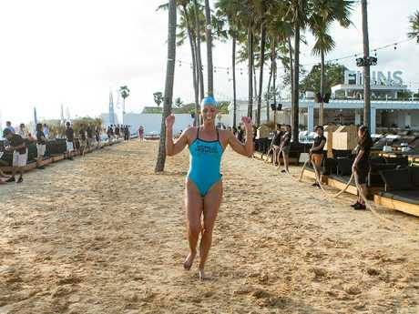 Courtney Hancock crosses the line at the World Ironman event in Bali. Photo: Supplied