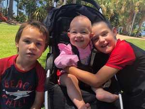 Declan Williams, 6, Lilyana Williams, 11 months, and