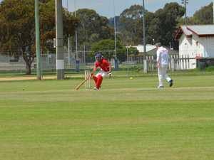 Kieran Askin running between wickets for Kingaroy.