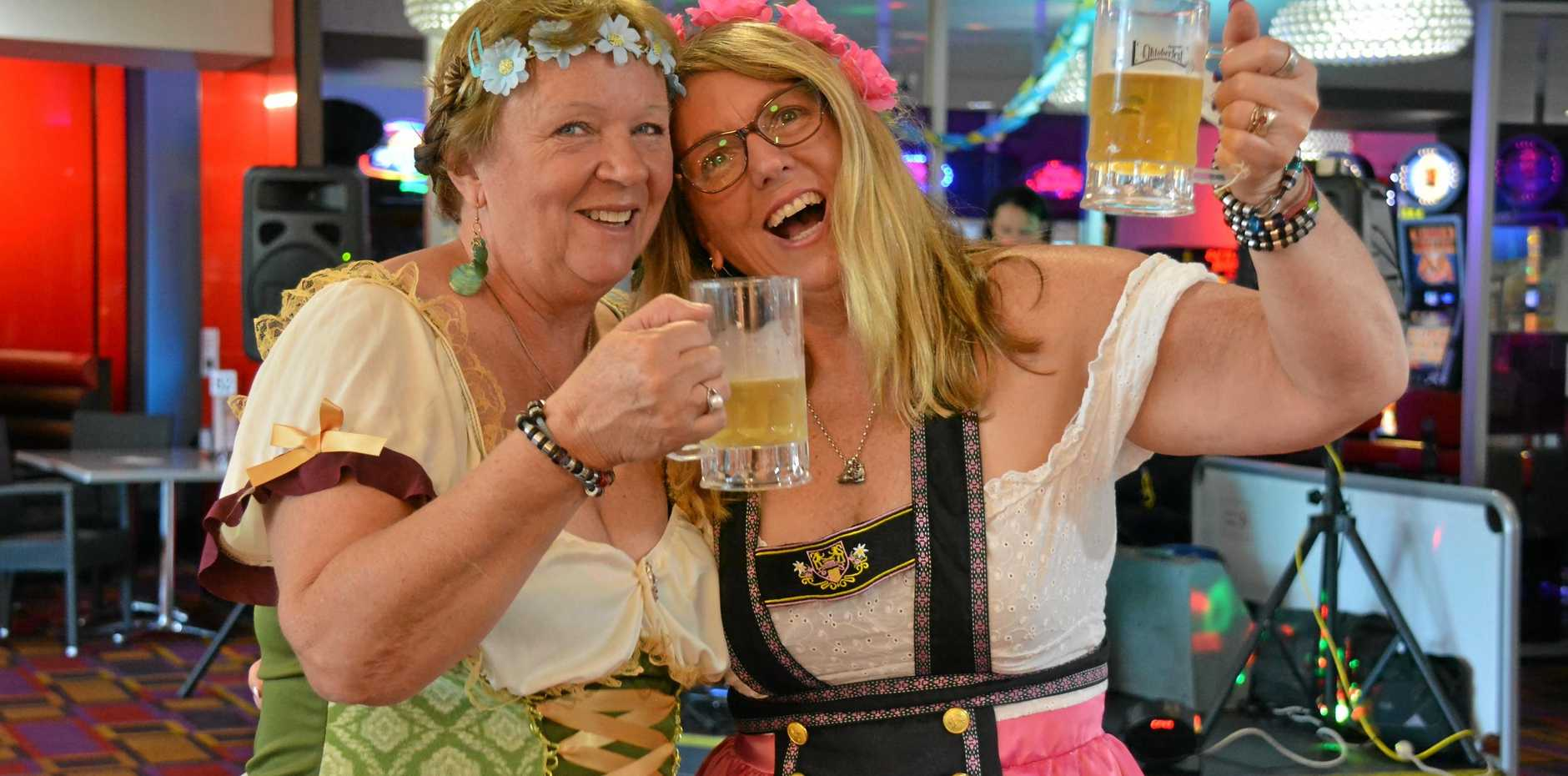 DRESSED UP: Janelle Wendt and Gillian Pichlis enjoy the Oktoberfest lunch at Nanango RSL on Saturday October 20.