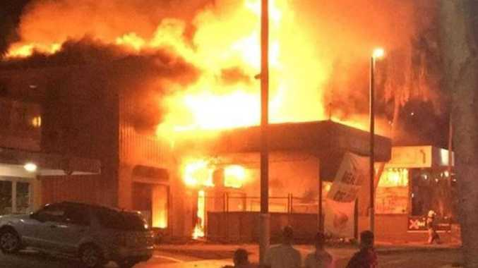 The former Nomad's Caravan Park reception building and service station were gutted by fire early this morning.