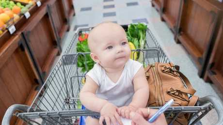 This is not what going shopping with a baby really looks like.
