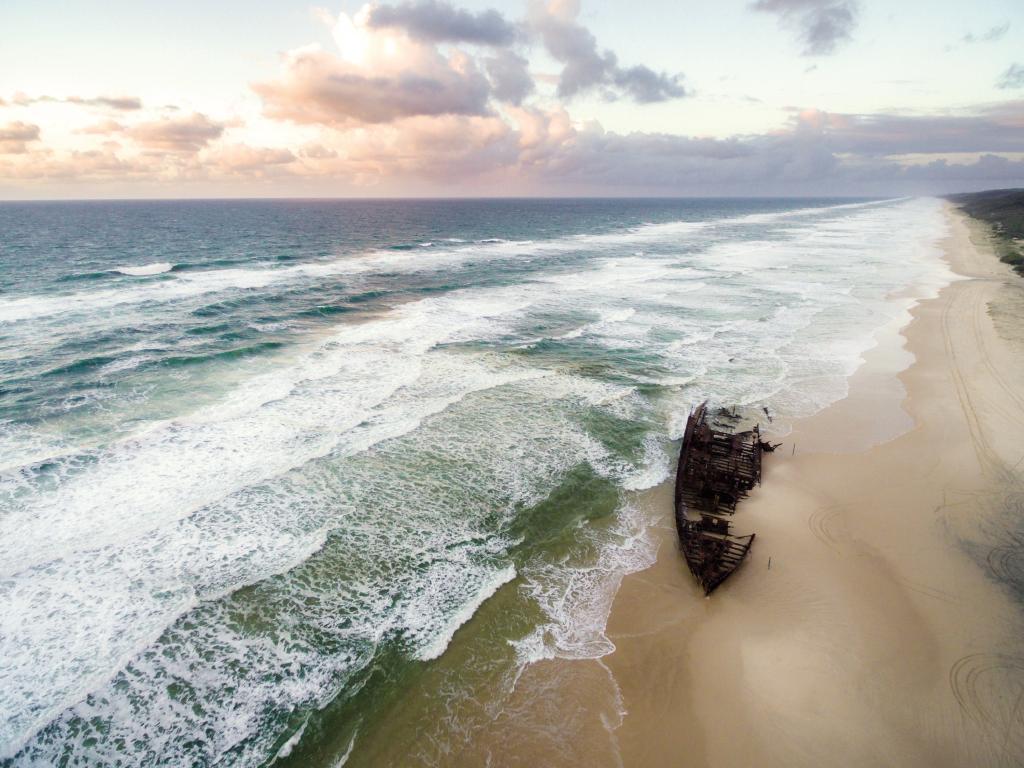 Maheno shipwreck on 75 Mile Beach. Picture: Kingfisher Bay Resort