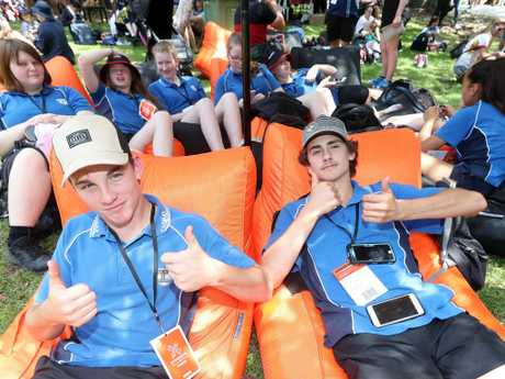 Lachlan Warne (left) and Tim Martin from Casino High School. Picture: Richard Gosling