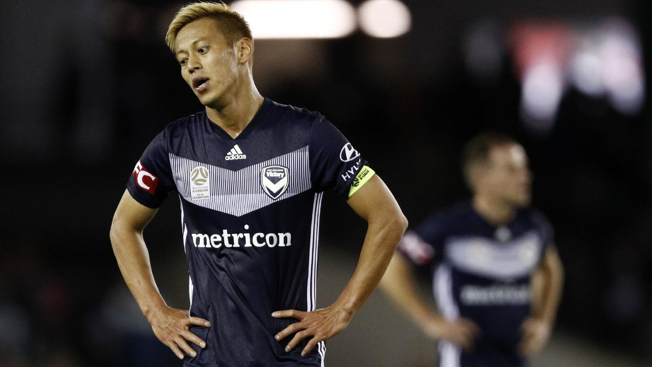 Keisuke Honda reacts to Victory's loss to start the season. Picture: AAP Images