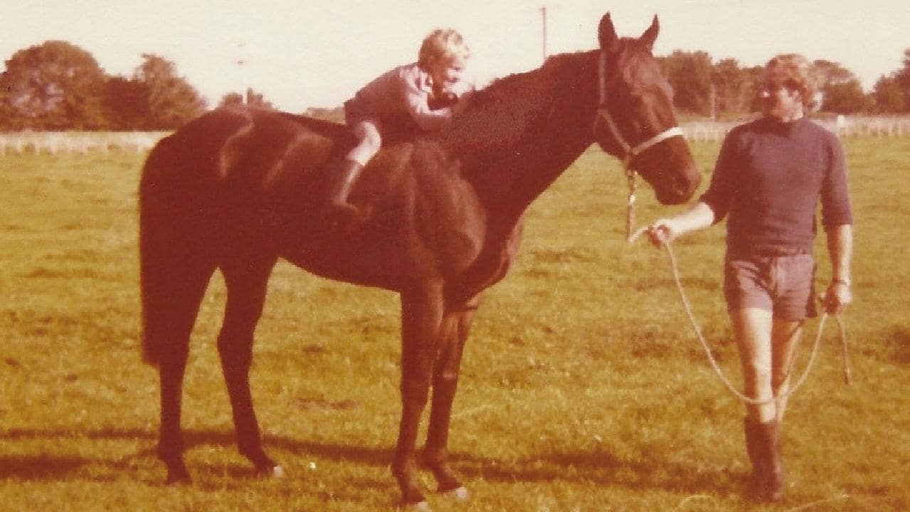 Trying the jockey crouch: young Chris Waller on galloper Totara Park with his dad John Waller in the late 1970s. Picture: Waller family