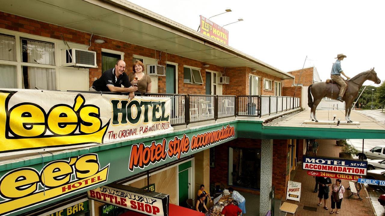 Mark and Belinda Doyle and their Lees Hotel in Ingham QLD built on the site of the Day Dawn Hotel where the poem that inspired Slim Dusty's Pub With no Beer. Photo: Eddie Safarik
