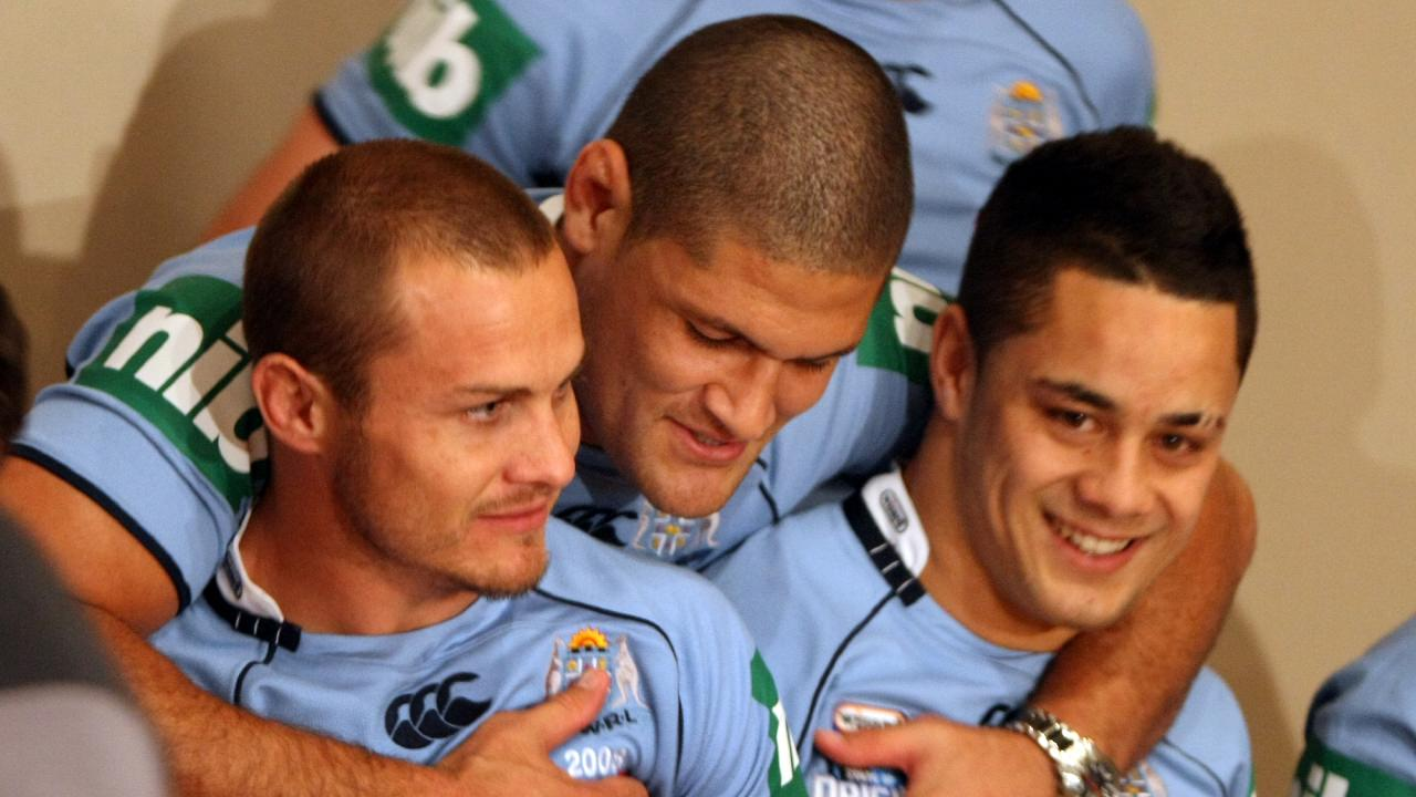 Former Origin teammates Matt Cooper (left) and Jarryd Hayne (right) with Willie Mason (centre). Picture: Gregg Porteous