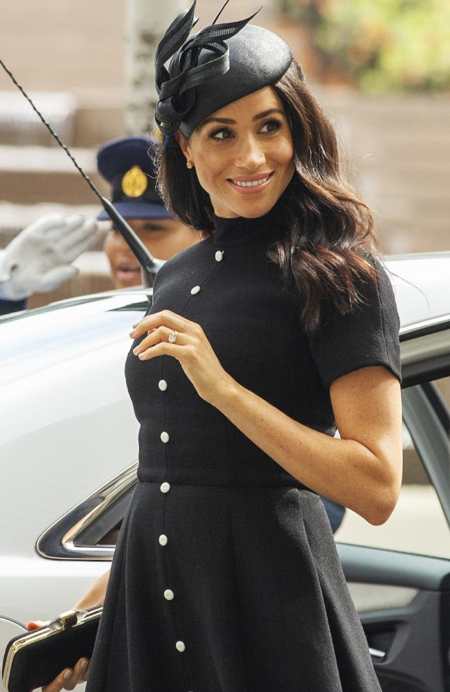 Megan, the Duchess of Sussex arrived wearing a dress by New Zealand fashion designer Emilia Wickstead, and hat by Philip Treacy.