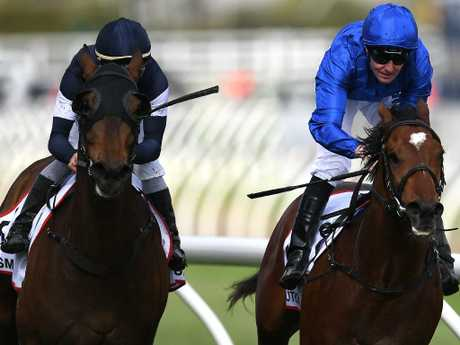 Pat Cosgrave and Best Solution (right) cross the line narrowly ahead of the fast-finishing  Homesman.