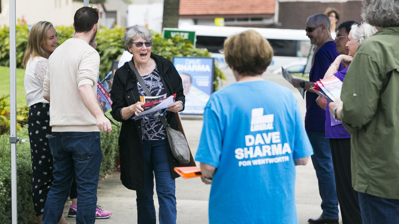 Pre-polling for Wentworth by-election at Margaret Whitlam Recreation Centre, Waverly Oval. Picture: Dylan Robinson