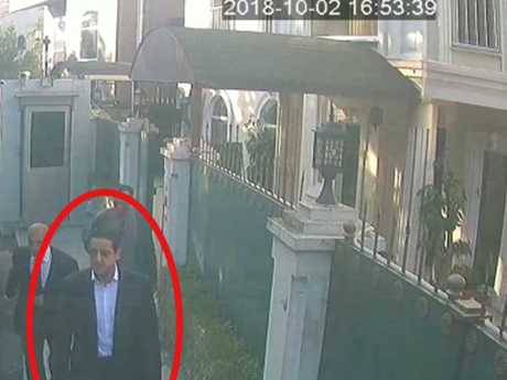 Surveillance camera footage shows a man previously seen with Saudi Crown Prince Mohammed bin Salman's entourage walk toward the Saudi Consulate in Istanbul just before Jamal Khashoggi disappeared from there. Picture: Sabah/AP