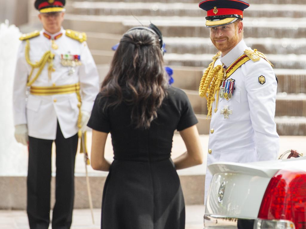 Prince Harry and Megan, the duchess of Sussex arrive for the Official Opening of ANZAC Memorial, Hyde Park in Sydney today.