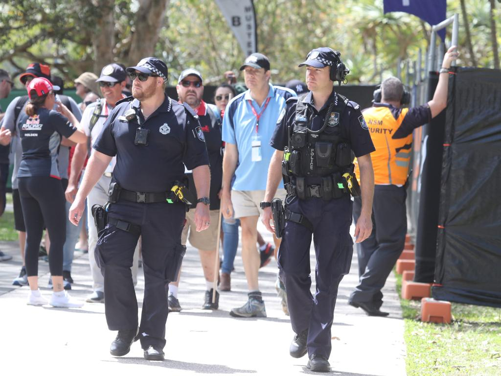 Police on patrol in the Gold Coast 600 race precinct. Photo by Richard Gosling