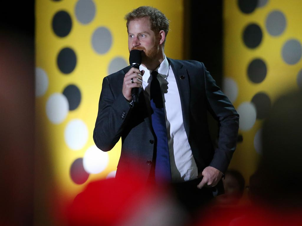His Royal Highness Prince Harry gives a speech at the Invictus Games Opening Ceremony on the forecourt of the Sydney Opera House. Picture: Toby Zerna