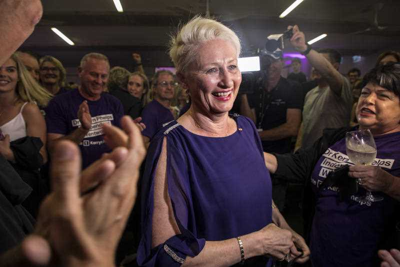 Independent member for Wentworth Kerryn Phelps is seen at a Wentworth by-election evening function at North Bondi Life Saving Club, Sydney.