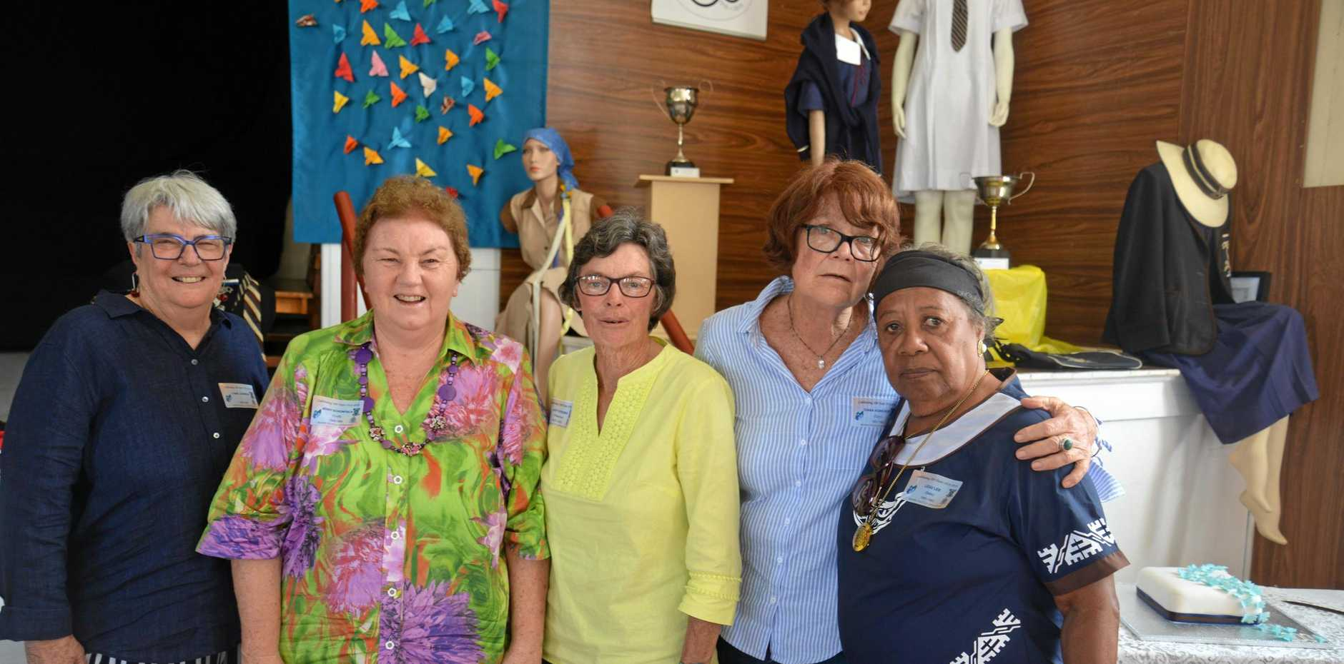 Lyn Johnson, Jenny Schonfisch, Judy Stevens, Diana Howcroft and Legu Lee at the St Catharine's 100 year celebration.