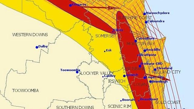SUPER Cell thunder storms were due to hit the Sunshine Coast by 4.05pm bringing damaging winds and large hail.