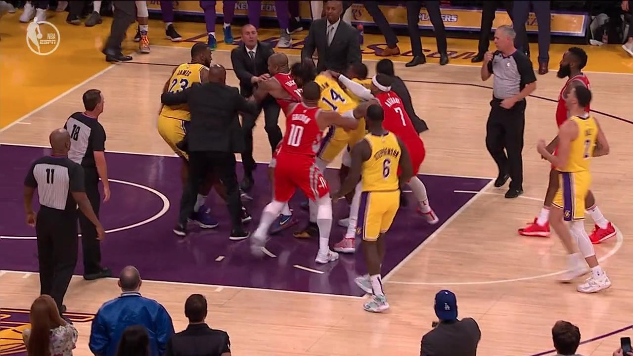 Houston and Los Angeles players throw hands in an ugly melee.