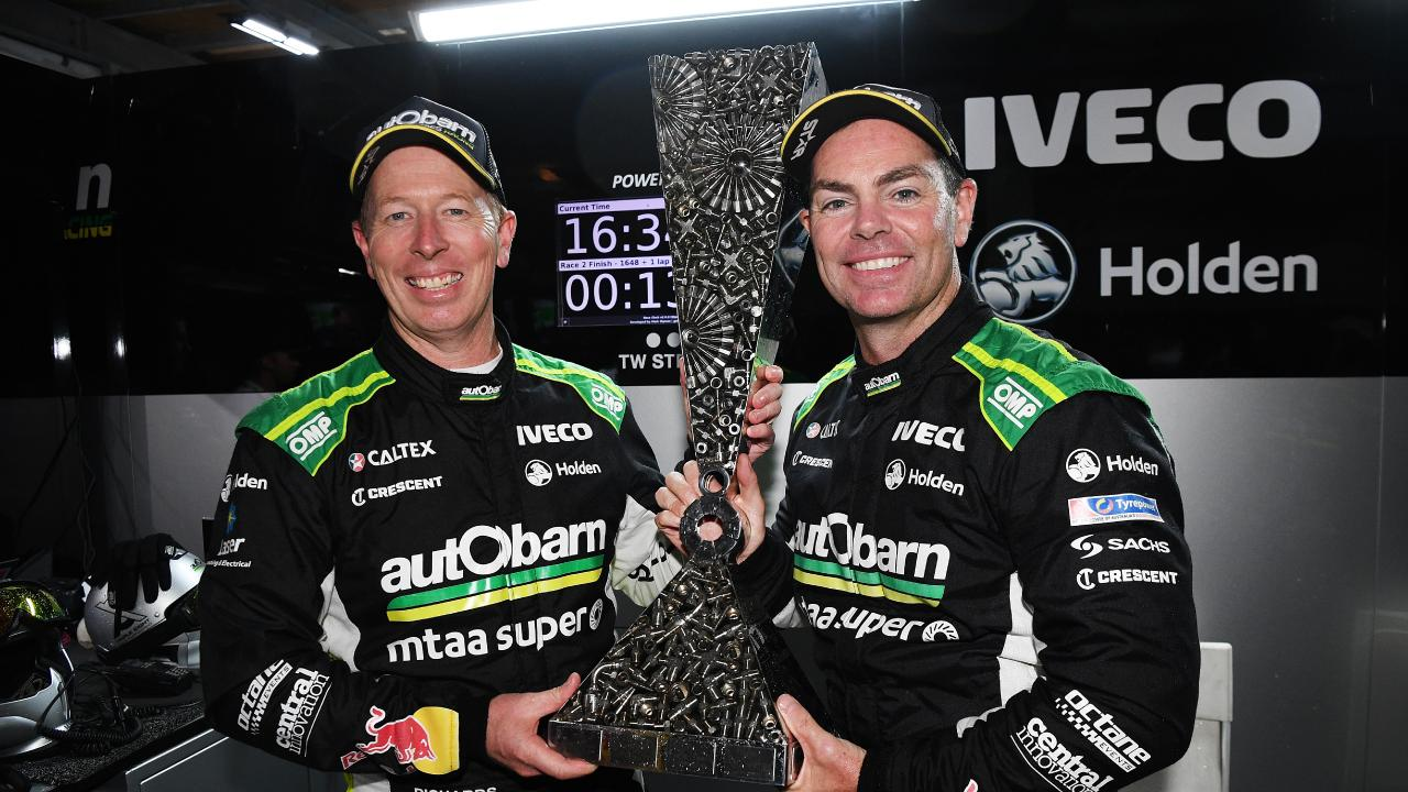 Steve Richards and Craig Lowndes with the Enduro Cup. Picture: Getty