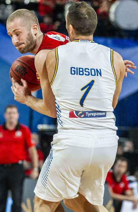 Adam Gibson proves an immovable barrier for Jesse Wagstaff.