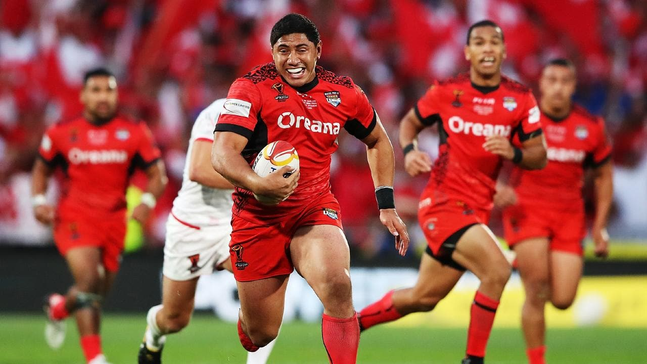 Tonga leader Jason Taumalolo on the charge at Mt Smart. Picture: Getty