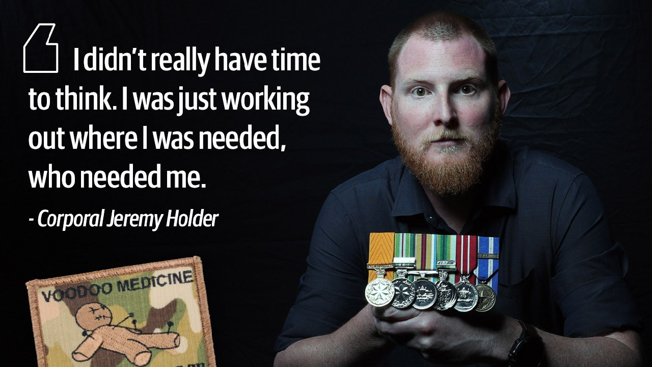 Corporal Jeremy Holder earned the Medal of Gallantry after he patched up six Australian commandos and their Afghan interpreter during a single conflict. Picture: Gary Ramage