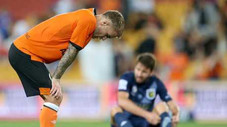Adam Taggart lost out to the VAR in the Roar's opener. Picture: Getty
