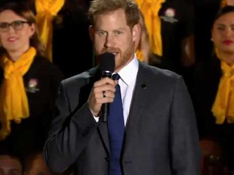 'Hello Sydney!' Prince Harry raised the crowd to their feet as he declared the Invictus Games open. Picture: ABC