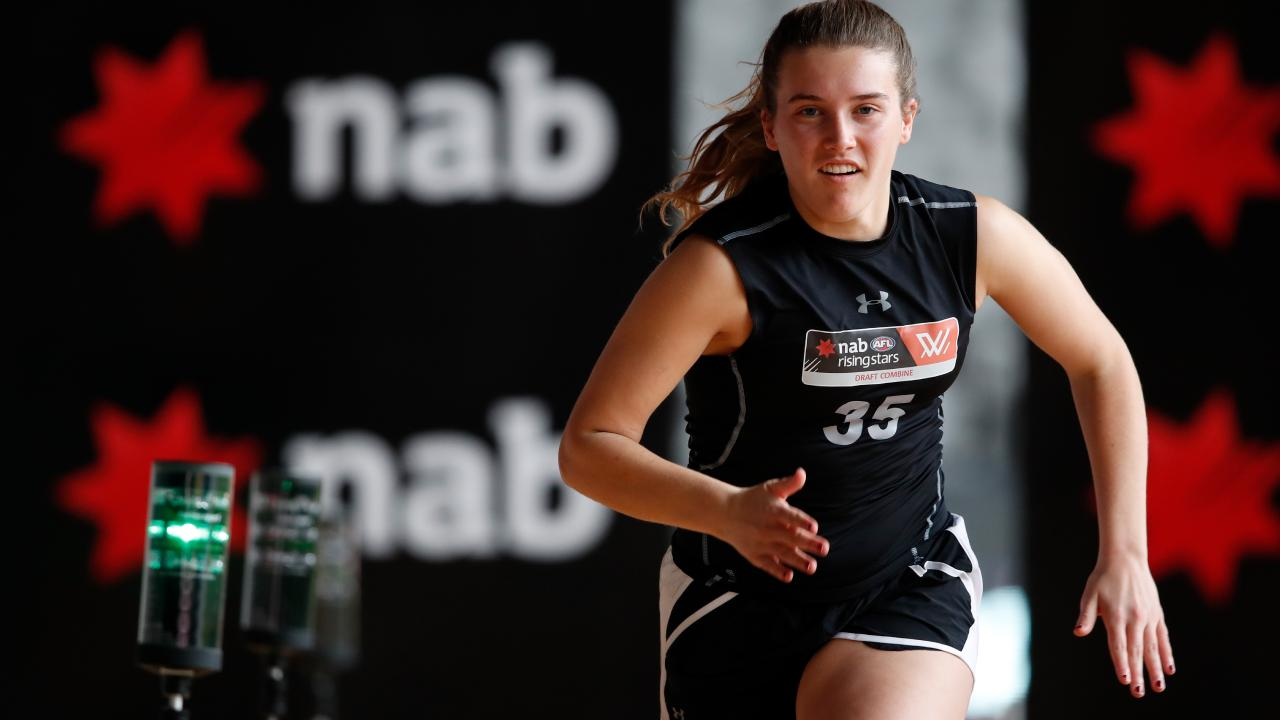 Abbie McKay in action during the AFLW draft combine.