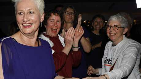 Kerryn Phelps with her gleeful supporters. Pic: AAP