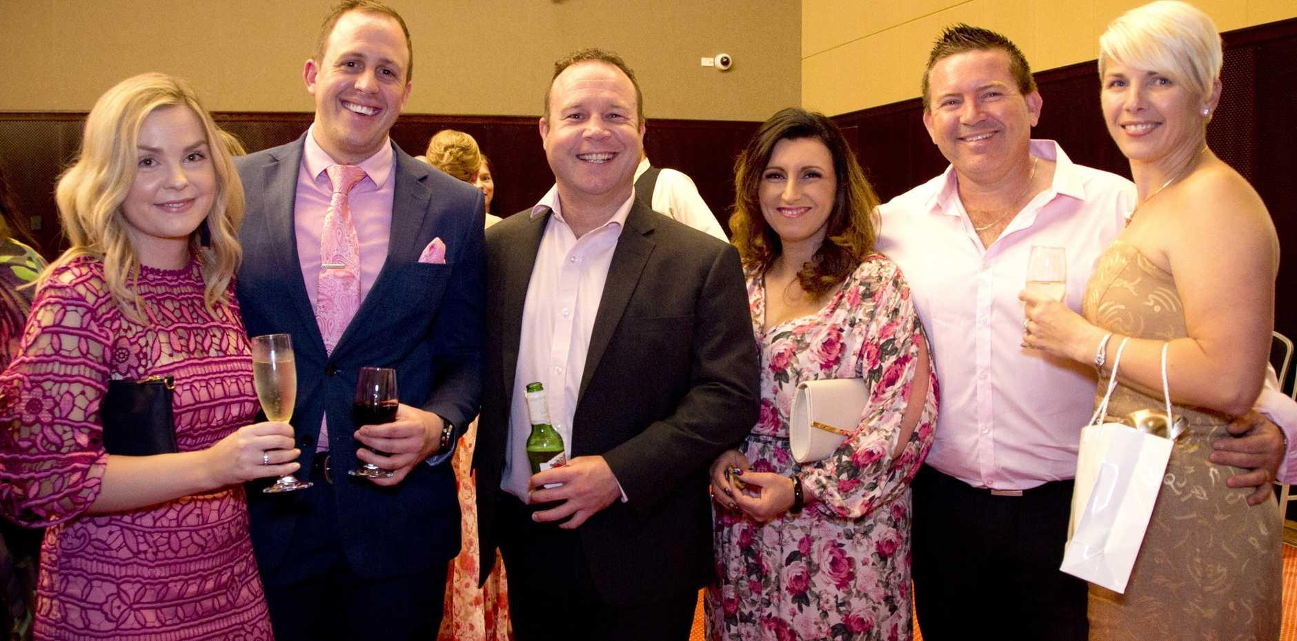 Pretty in Pink Gala guests, from left; Samantha Walker, Daniel Burrett, Scott Butler, Sally Harvey, Brett Harvey and Selena Park. The function raised funds for Toowoomba Hospital Foundation.