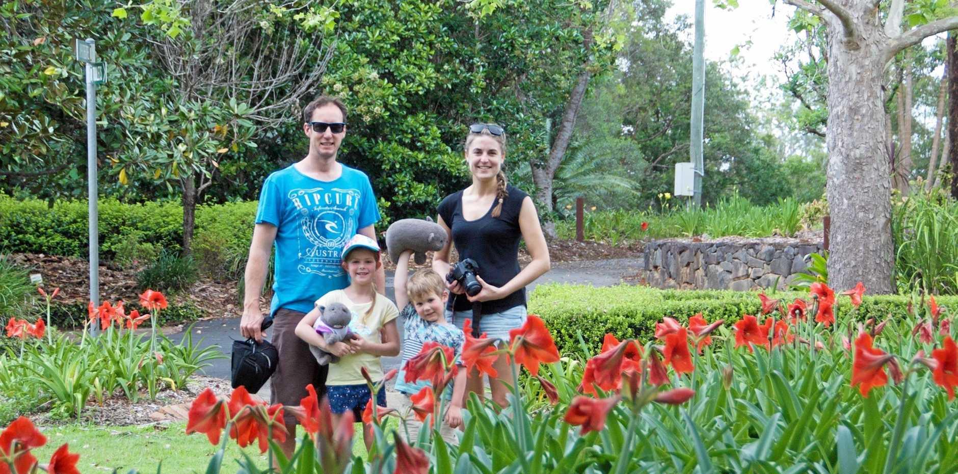 Adelaide family Evan, Tiffany, Aylish and Cole discover the joys of Noosa Botanic Garden.