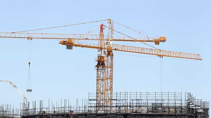 Cranes over the construction near Lake Kawana.